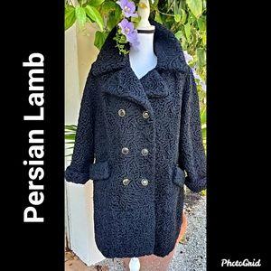 Black Persian Lamb Double Breasted Coat